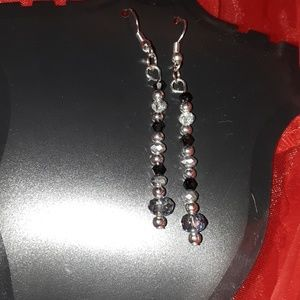 Crystal Earrings with black bicone crystal glass